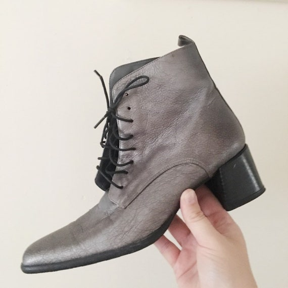 Vintage 1990s Dark Silver Ankle Boots -- 1990s Cl… - image 3