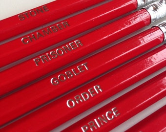 Harry Potter Pencils. Set of 7 pencils with book names foil printed in a choice of foil colours.