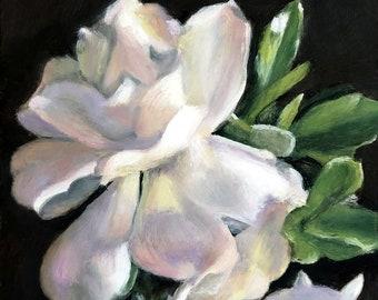Original Oil Painting: Small Still Life of Gardenia blossoms