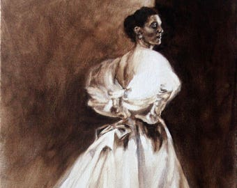 """Original Oil Painting: """"Balenciaga Beauty, 1954"""" Sepia Series of Woman in Elegant Evening Gown"""