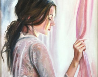 Original Oil Painting: Beautiful young woman standing at a window in morning light