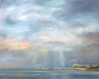 Original Oil Painting: Cloudy Tropical Sky at Sea