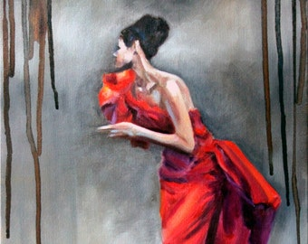 Original Oil Painting: vintage sixties fashion woman in red gown with paint drips