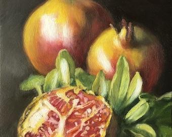 Original Oil Painting: Small Still Life of Golden Pomegranates