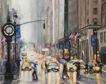 Original Oil Painting: City Street Scene of a Rainy day in New York