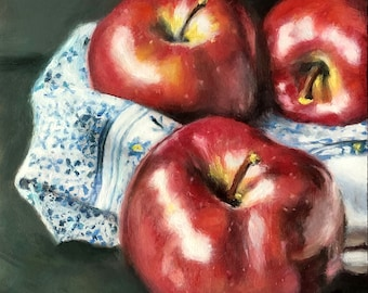 Original Oil Painting: Small Still Life of Apples in Blue and White towel