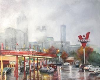 "Original Oil Painting: Iconic Atlanta Eatery ""The Varsity"" in the Rain"