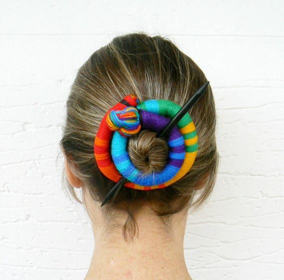 Stick Slide Fascinator Shawl brooch Clip thick Hair fork Multicolor pin slide Large hair barrette Bun holder