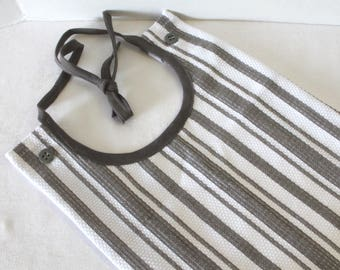 Adult Bib Stripes White Charcoal Commuter Bib Apron Special Needs Senior Gift
