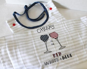 Adult Bib Americana Cheers Fourth 4th of July Commuter Bib Apron Special Needs Senior Gift