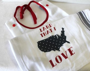 Adult Bib Americana Land that I Love Fourth 4th of July Makeup or Commuter Bib Apron Special Needs Senior Gift