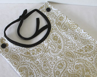 Adult Bib Gold and White Damask Makeup and Commuter Bib Apron Special Needs Senior Gift