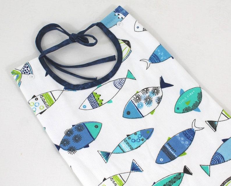 Pretty Fish Print Commuter Bib Apron Absorbent Special Needs Senior Gift