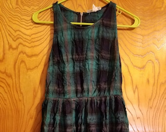 SALE Vintage Green and Blue Checkered Babydoll Dress - Size Small