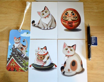 Japanese Maneki-Neko Lucky Cat Postcard and Bookmark Set