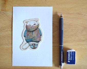 Cat in Winter Fashion Sticker