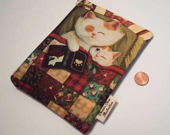 Cat Illustration Pouch Bag