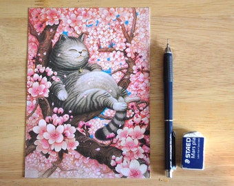 "Cat Illustration ""Sakura"" 5"" x 7"" Postcard"
