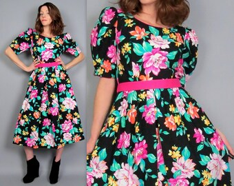110e525b111 Vintage 80s Puff Sleeve Black Floral Print Dress Midi Length Lanz Originals  Garden Party Summer 1980s Cotton Sundress Pockets Retro Medium