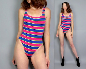 b2fd69ec9 Vintage 90s High Cut Swimsuit Pink Blue Striped One Piece Deadstock Retro Stripe  Bathing Suit 1990s Swim Bodysuit Cheeky New Old Stock Small