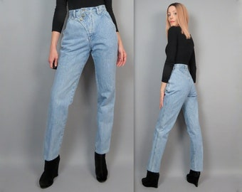 """Vintage 80s Western Ethics Jeans High Waisted Western Jeans 1980s Light Wash Denim Straight Leg High Rise Mom Jeans 26"""" Waist XS Small"""