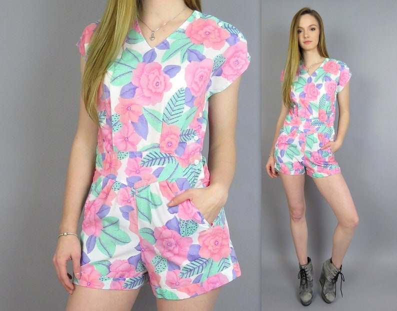 dce4f5d5417 Vintage 80s Floral Romper Pink Purple Playsuit One Piece