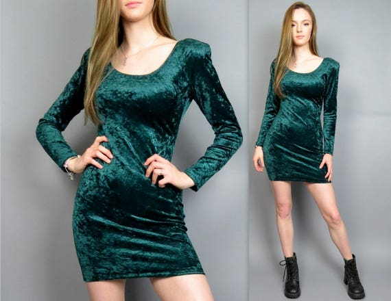 Vintage 90s Crushed Velvet Dress Bodycon Long Sleeve Green All Etsy