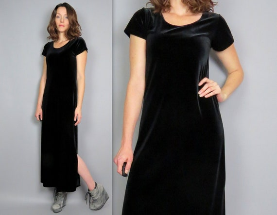 Vintage 90s Black Stretch Velvet Maxi Dress Short Sleeve A Etsy