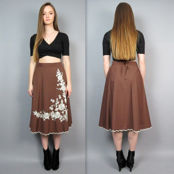 Vintage 70/'s beige wrap midi skirt with floral embroidery  Size L  XL