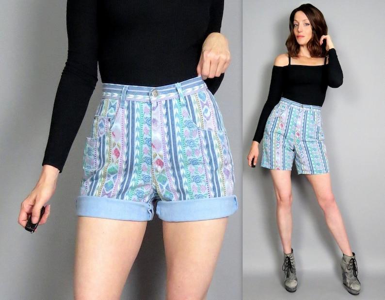 4a4888089f Vintage 90s High Waisted Aztec Stripe Jean Shorts Floral Striped Retro  1990s Ultra High Rise Denim Festival Mom Shorts Jorts 27