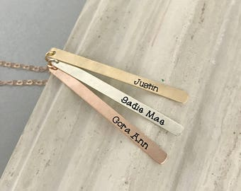 Skinny Three Bar Necklace, Name Bar Personalized Bar Necklace Initial Necklace Bridesmaid Gift Gift For Her Rose Gold Bar Necklace