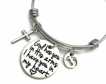 God Has You In His Arms I Have You In My Heart Pewter Loss Memorial Miscarriage Bracelet - Personalized Jewelry - Engraved Jewelry