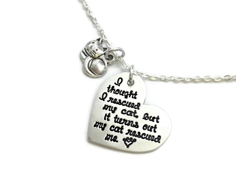 Rescue Mom  I Thought I Rescued My Cat But It Turns Out My Cat Rescued Me  Cat Mom  Cat Lady  Personalized Jewelry  Engraved Jewelry