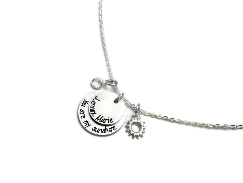 You Are My Sunshine My Only Sunshine Name Necklace Engraved Jewelry Hand Stamped Jewelry Personalized Jewelry Sun Necklace