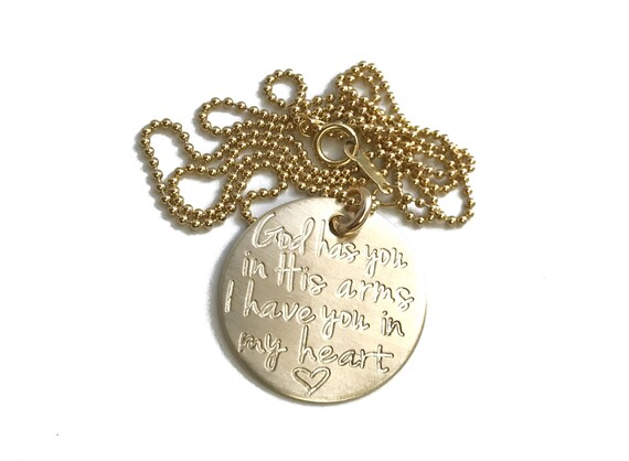 8724cf571e421 SOLID GOLD Memorial Necklace    14k Gold Necklace    God Has