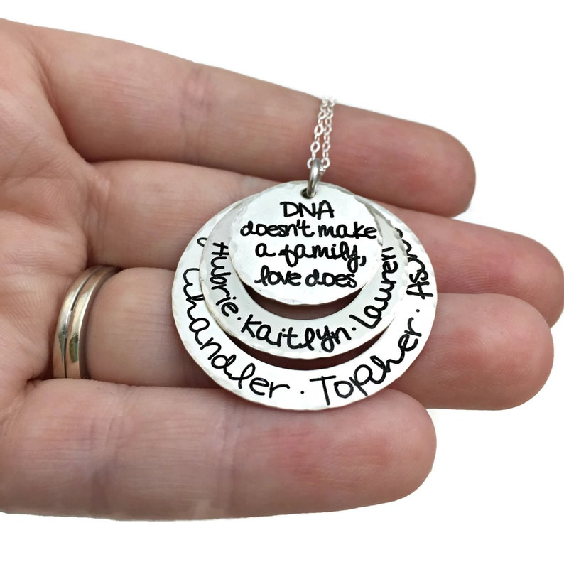 DNA Doesn/'t Make A Family Love Does Personalized Engraved Jewelry Sterling Adoption Personalized Keepsake Family Kids Names Necklace