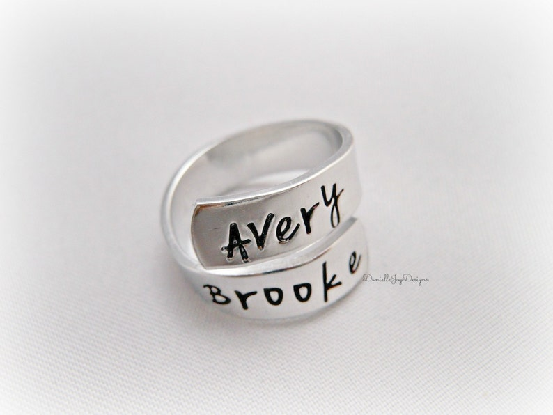 Personalized Jewelry Name Ring Hand Stamped Jewelry Kids Names Engraved Jewelry Spiral Ring Stamped Aluminum Wrapped Custom Ring