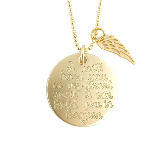 e9ce9a2922d65 SOLID GOLD Memorial Necklace    14k Gold Necklace    I Will