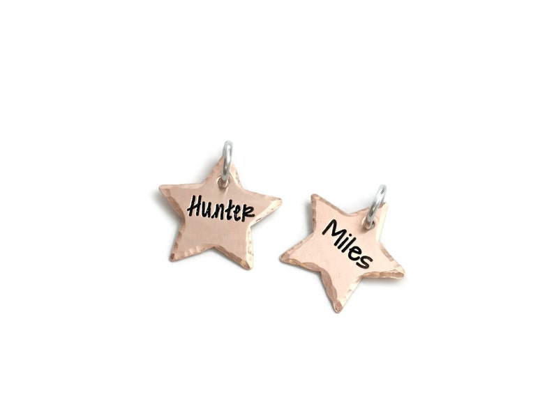Small Hammered Star Tag Hand Stamped Jewelry Personalized Jewelry One Star Charm Flat Small Star Tag Engraved Jewelry