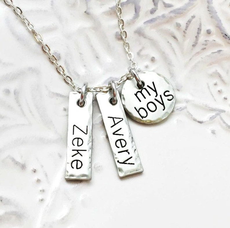Hand Stamped Jewelry Personalized Jewelry My Boys or My Girls Kids Names Stamped Pewter Necklace Mother/'s Day Mothers Day