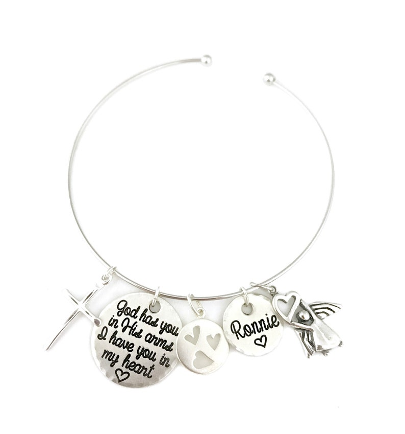 Sterling Silver Bangle Monogram Engraved Charms Memorial Charm Bracelet Miscarriage Bracelet Engraved Jewelry Personalized Jewelry