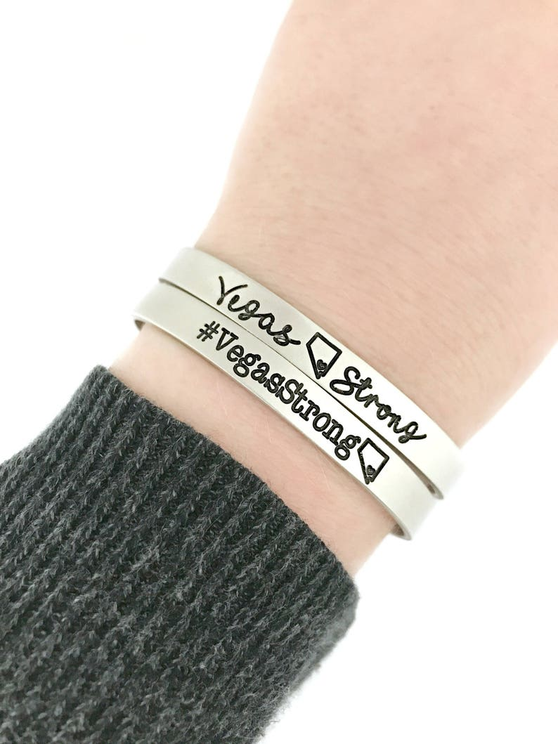 Personalized Jewelry Las Vegas Home Vegas Strong Cuff Engraved Cuff Hand Stamped Jewelry Pray For Vegas Route 91
