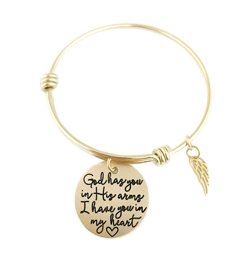 Gold Loss Memorial Remembrance Miscarriage Personalized Jewelry Stamped Jewelry God Has You In His Arms I Have You In My Heart Bangle