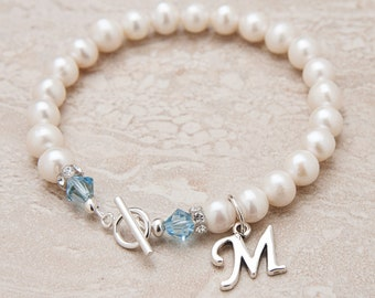 Pearl Bracelet - Personalized Pearl Bracelet with Birthstone Crystals - Bridesmaids Bracelets - Gifts for Bridesmaids - Pearl Jewelry