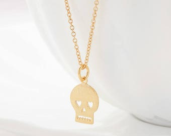 Skull Charm Necklace - Gold Skull Necklace - Dainty Layering Necklace - Silver Skull Necklace - Gold Skull Jewelry - Skull Necklace Goth