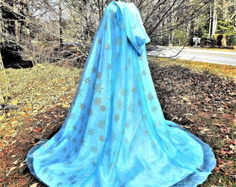 The Ice Princess Blue Satin Cape