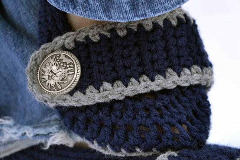 f158e387bbd Midnight blue womens crochet slippers crochet booties