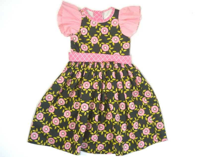4T-5T Charcoal and Pink Floral Dress image 0