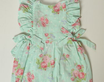 12-18 month Aqua Floral Ruffle Sleeve Tunic Top with Bows