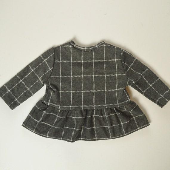 18-24 month Grey Window Pane Plaid Knit Peplum Top